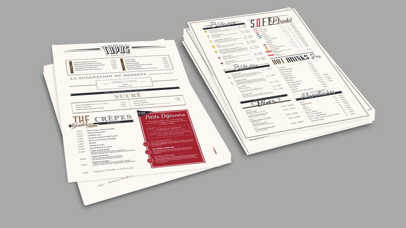 Creative Altitude - Agence Communication - Savoie - site-internet - logo - web - print - carte et menus La Taverne des Neiges Tignes
