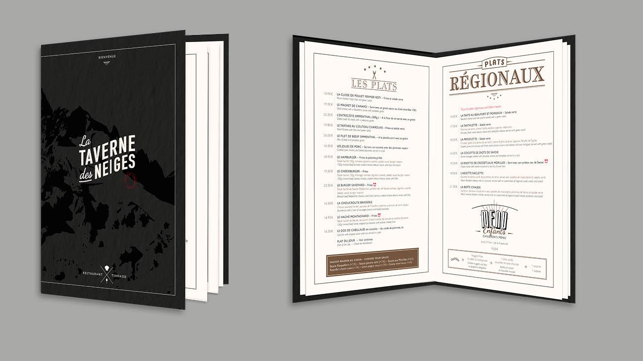 Creative Altitude - Agence Communication - Savoie - site-internet - logo - web - print - Carte et menu La Taverne des Neiges Tignes