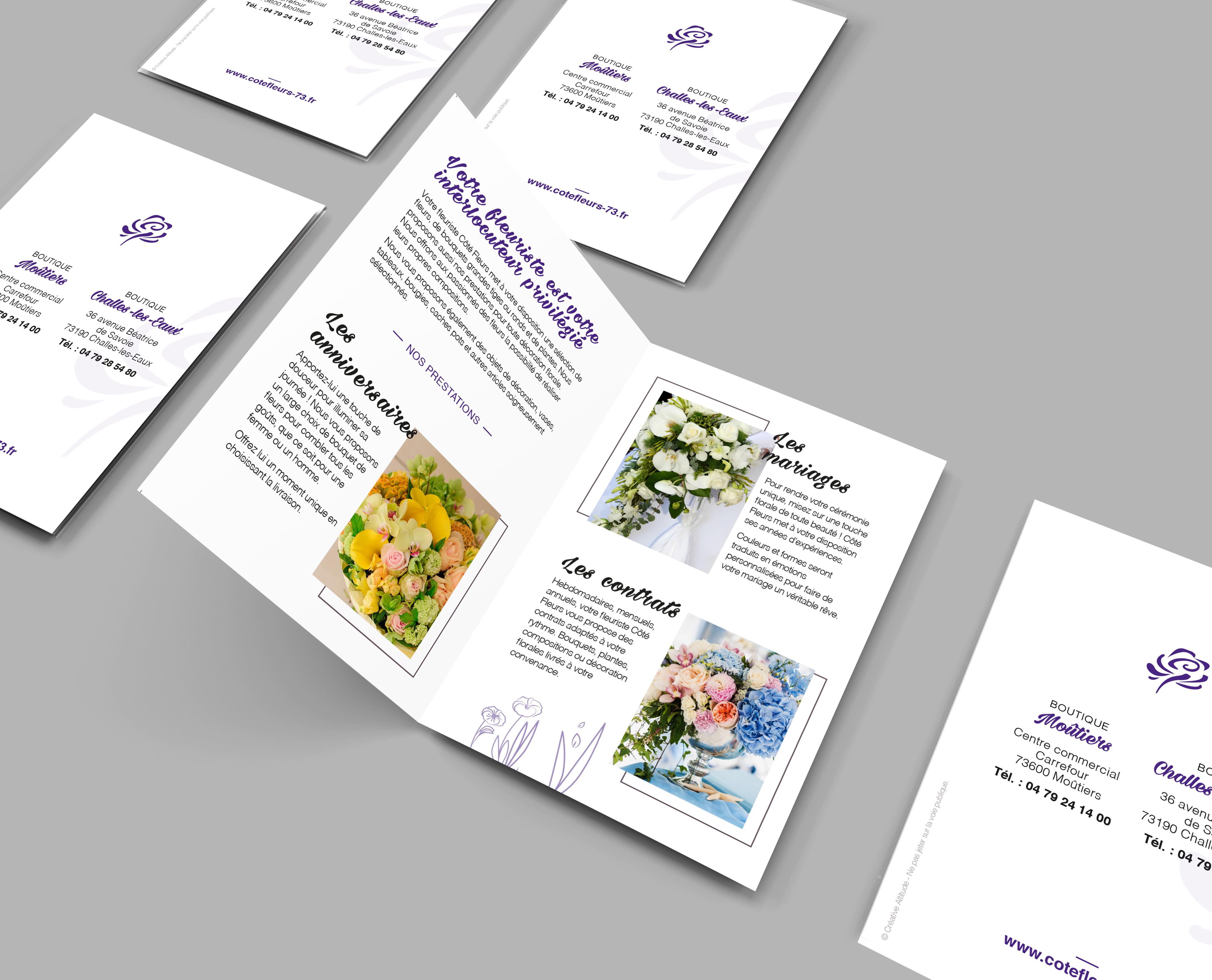 Creative Altitude - Agence Communication - Savoie - site-internet - logo - web - print - Dépliant 2 volets Coté Fleurs